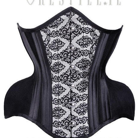 "Brocade dramatic curved corset wide hips ""WH3 Silver Damask Underbust""<BLK/ 20inch>"
