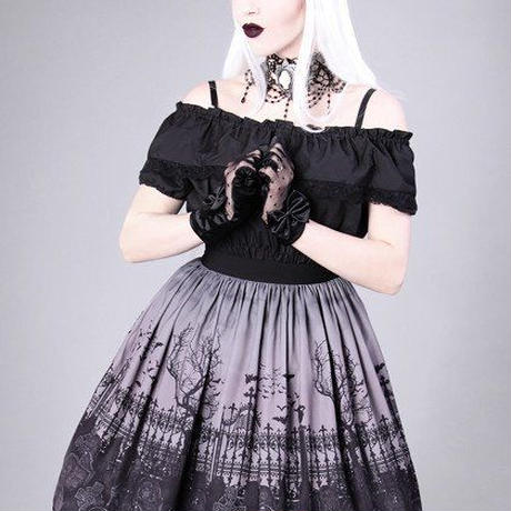 "Gothic lolita skirt, graveyard, guipure ""CEMETERY GRAY"" <GRY/各サイズ>"