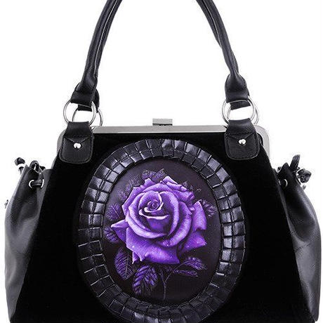 "Black Velvet, gothic, romantic handbag ""PURPLE ROSE"""