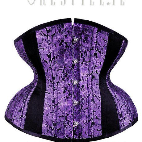 "Purple corset, hourglass shape, sturdy ""CU5 Purple Brocade Underbust"" <PUR/ 20inch>"