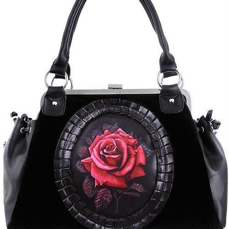 "Black Velvet, gothic romantic handbag ""RED ROSE"""