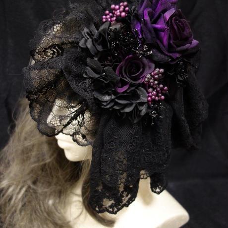 HD-190823-A ヘッドドレス「レースジャボ」(パープル)