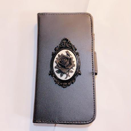 手帳型iPhoneケース <黒薔薇/X/XS>