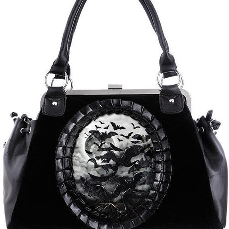 "Gothic cameo handbag on metal frame, flying bats ""VAMP"""