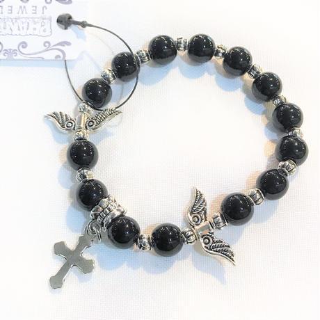 羽根と十字架のブレスレット<各サイズ>