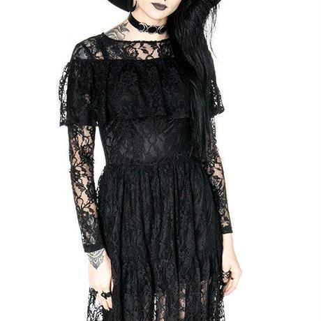 GLOOMY PRAIRIE Black Lace gothic dress