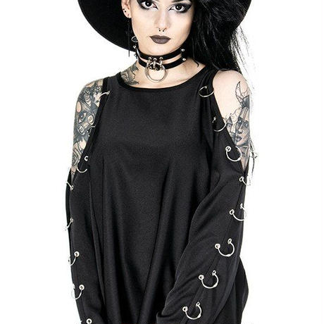 COLD SHOULDER PIERCED BLOUSE oversized shirt, gothic<XS>