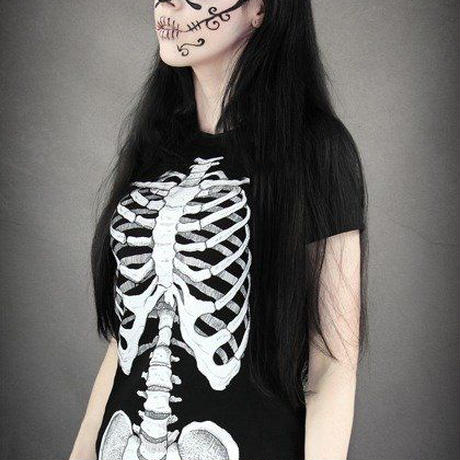 T-shirt Human skeleton ribs and pelvis X-ray <各サイズ>