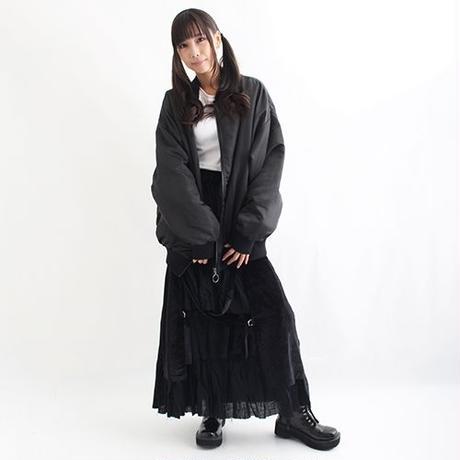 ベロア×ガーゼロングスカート<BLK/F>