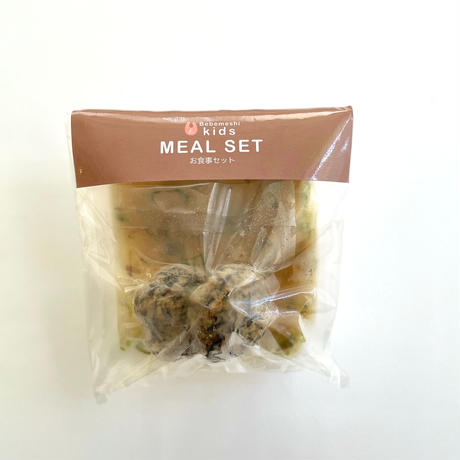【Bebemeshi kids MEAL SET】豆腐ハンバーグのきのこあんかけ&さつま芋の味噌汁