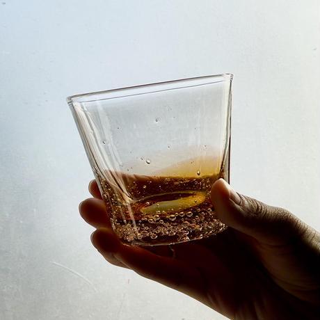 琥珀のロックグラス 小
