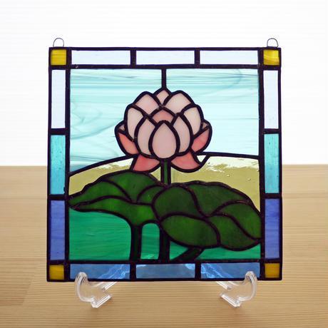 ステンドグラス ミニパネル 蓮 15cm