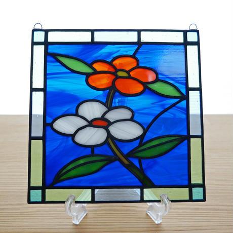 ステンドグラス ミニパネル 小さな花 15cm