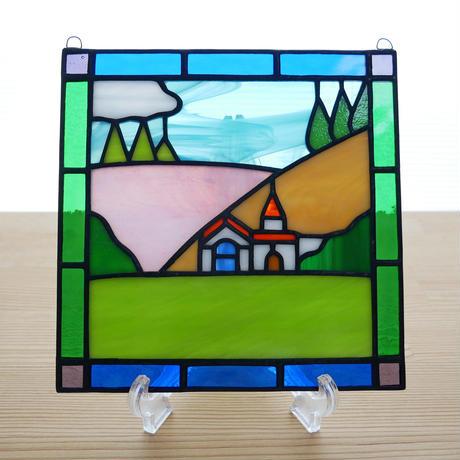 ステンドグラス ミニパネル 丘の家 15cm