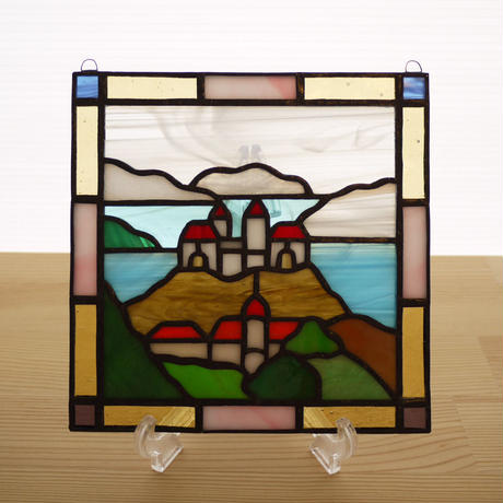 ステンドグラス ミニパネル キャッスル 15cm