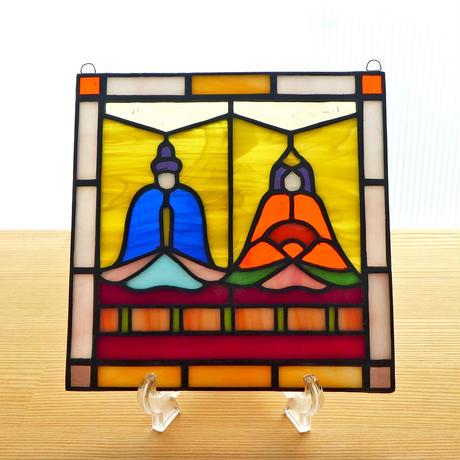 ステンドグラス ミニパネル ひな人形ii 15cm