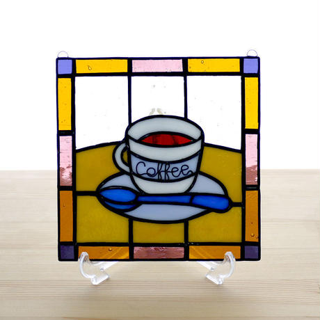 ステンドグラスパネル コーヒー Mサイズ