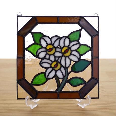 ステンドグラス ミニパネル 白い花 15cm
