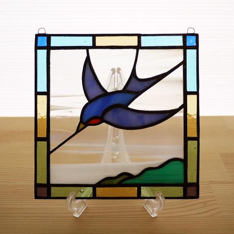 ステンドグラス ミニパネル バード 15cm