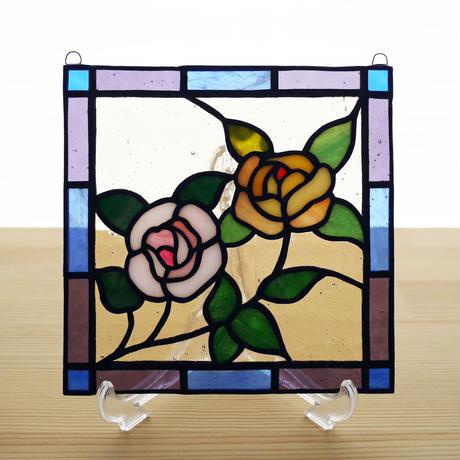 ステンドグラス ミニパネル プティローズ 15cm