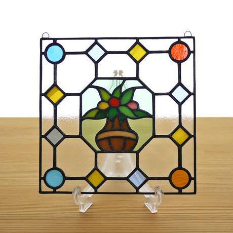 ステンドグラス ミニパネル フラワーポット 15cm