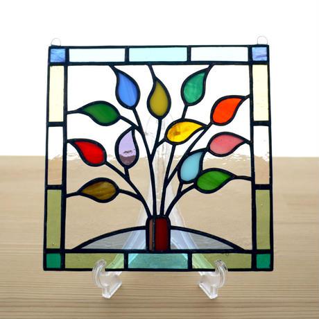 ステンドグラス ミニパネル リーフ 15cm