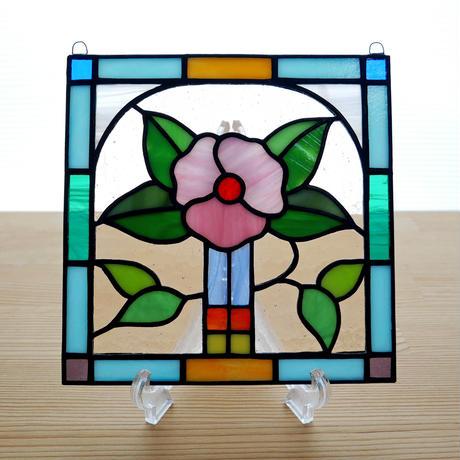 ステンドグラス ミニパネル フラワー 15cm