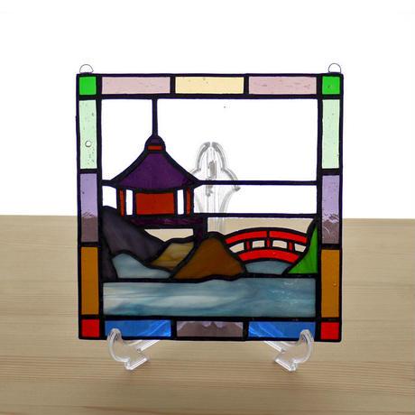 ステンドグラス ミニパネル 灯籠 15cm
