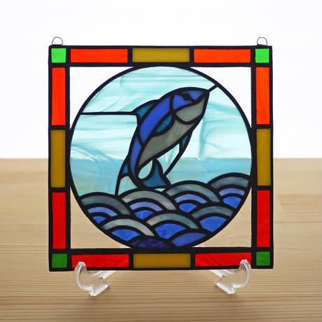 ステンドグラス ミニパネル マグロ 15cm