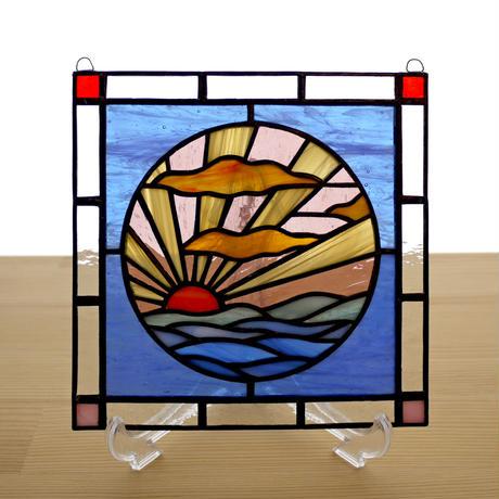 ステンドグラス ミニパネル 日の出 15cm