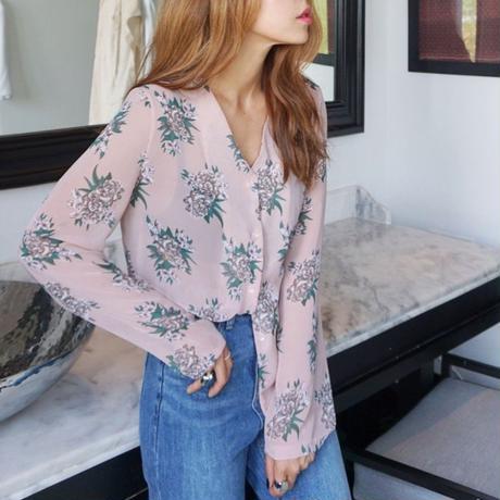 Flower chiffon blouse☆