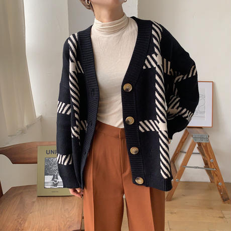 《予約販売》unisex herringbone check knit cardigan/2colors_nt0642
