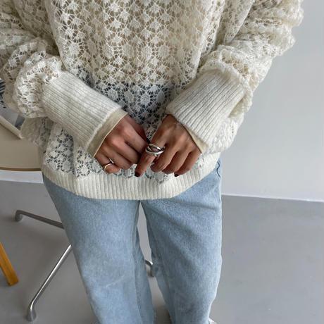 《予約販売》lacy sheer mesh knit/2colors_nt1098