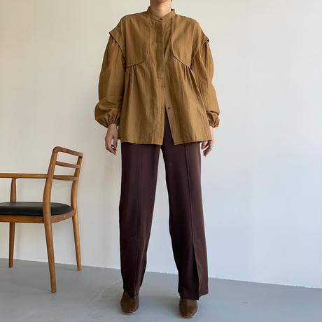 【nokcha original】satin slit pants/brown_np0456