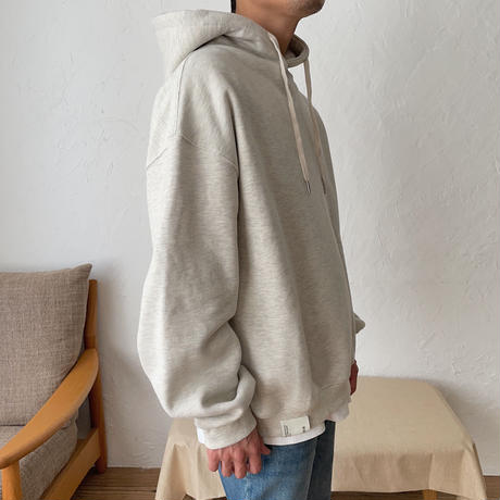 【nokcha original】unisex label hood pullover/oatmeal_nt0725