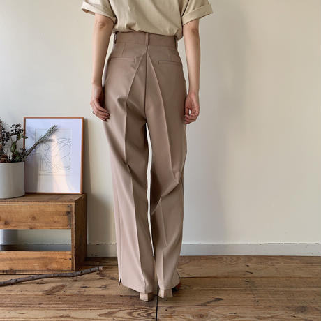 【NOKCHA original】quality long wide slit pants/beige_np0164