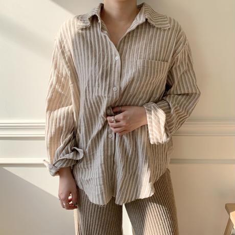 stripe bi-color shirt/2colors