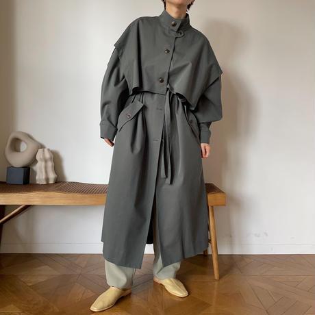 【nokcha original】2way quality over trench coat/blue green_no0147