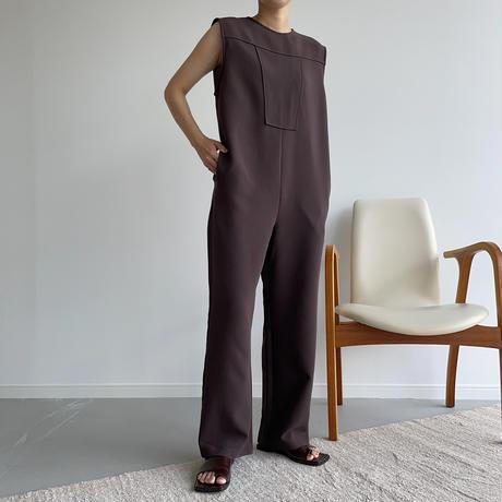 【nokcha original】quality lady jumpsuit/deep brown_np0423