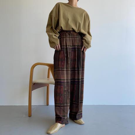 【nokcha original】vintage like check pants_np0451
