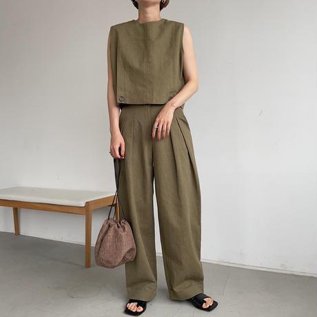 【nokcha original】 linen tuck cocoon pants/khaki_np0399