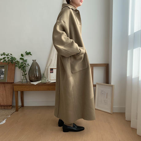 【NOKCHA original】wool over coat/moca beige_no0048