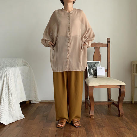 【nokcha original】sheer raglan over shirt/beige_nt0513