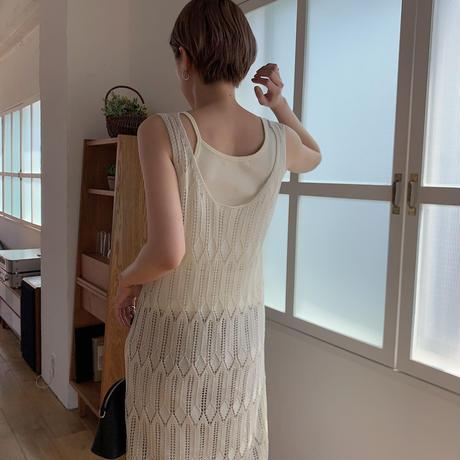 《予約販売》mesh knit ops/2colors_nt0399