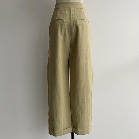 【nokcha original】linen tuck cocoon pants/pistacchio_np0400