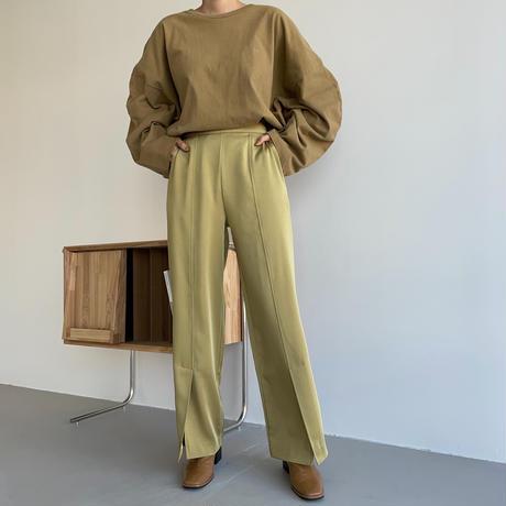 【nokcha original】satin slit pants/yellow green_np0455