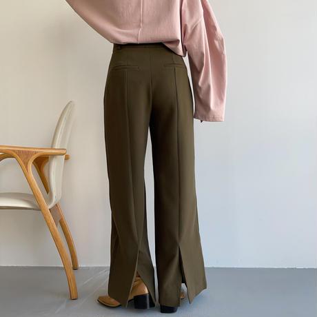 【nokcha original】back slit long pants/deep khaki_np0453