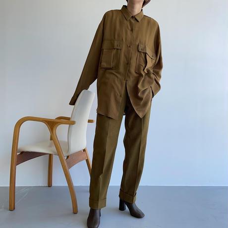 【nokcha original】pin stripe sheer over shirt/ olive brown_nt1045