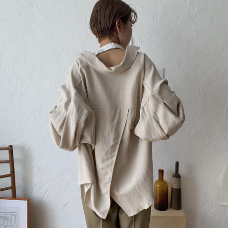 linen blend puff  sleeve blouse/3colors_nt0366
