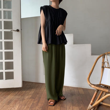 【nokcha original】gather toromi pants/khaki_np0236